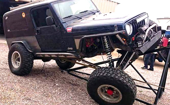 Custom Jeep axles for high articulation.