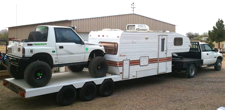 Rock Crawler Hauler Trailer with RV Sleeping Quarters.