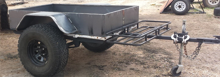 Custom Off Road Jeep Trailer with high clearance suspension.