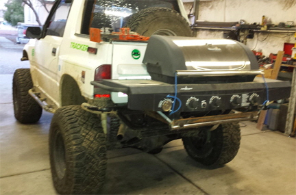 Hitch Mounted BBQ on Off Road Truck.