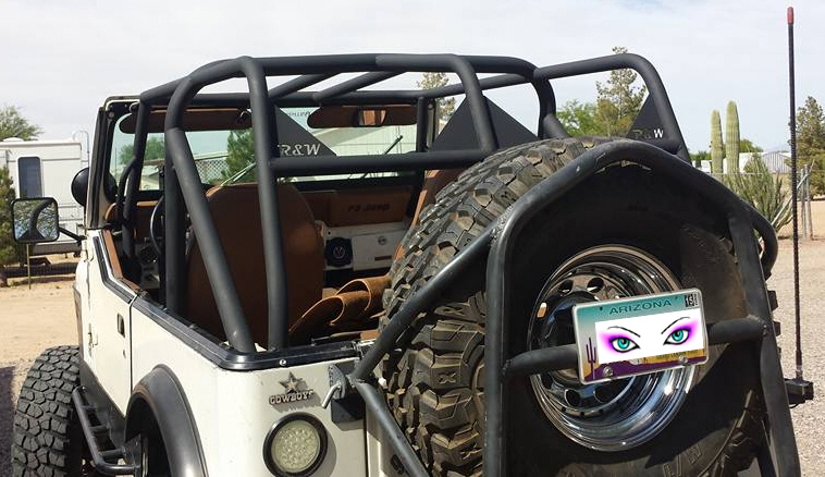 Jeep Roll Cage and Spare Tire Mount in Arizona.